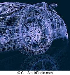 macchina, ruote, closeup, sfondo bianco