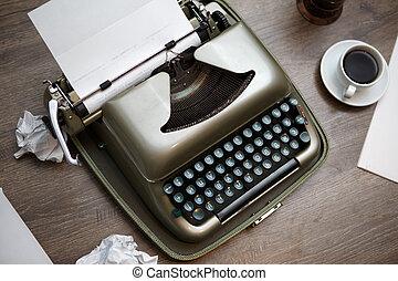 macchina scrivere, carta, caffè, vecchio