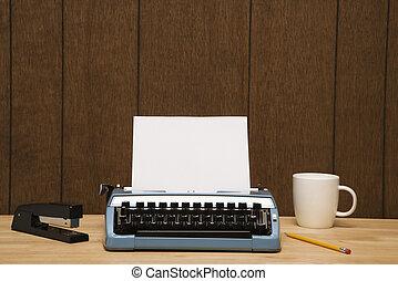 macchina scrivere, su, desk.