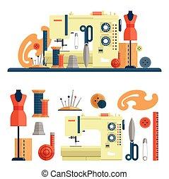 macchina, set, appartamento, icone, fashion., cucito, fatto mano, accessori, isolato, vettore, disegno, sartoria, elementi