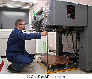 macchina, stampante, nuovo, stampato