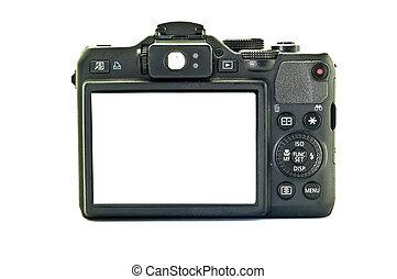 macchine fotografiche compatte, schermo, fondo., nero, digitale, bianco, vista posteriore