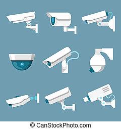 macchine fotografiche sicurezza, set, icone
