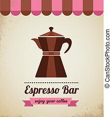 macchinetta, espresso zasuwają, afisz, vinatge