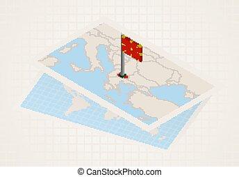 macedónia, térkép, kiválasztott, isometric, macedonia., ...
