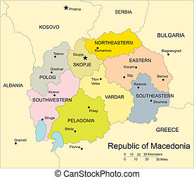 Macedonia, editable vector map broken down by administrative districts includes surrounding countries, in color with cities, district names and capitals, all objects editable. Great for illustrations, web graphics and graphic design. Includes sections of surrounding countries, Bulgaria, Serbia, ...
