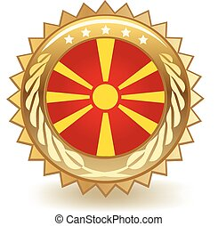 Macedonia Badge - Gold badge with the flag of Macedonia.