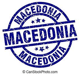Macedonia blue round grunge stamp