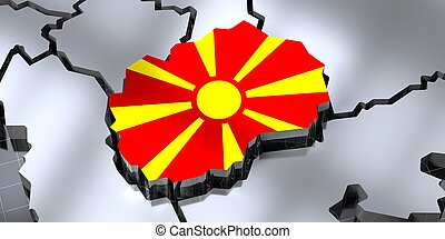 Macedonia - country borders and flag - 3D illustration