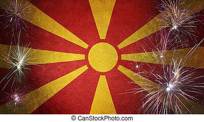 Macedonia Flag Firework Grunge Concept real fabric