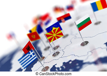 Macedonia flag in the focus. Europe map with countries flags
