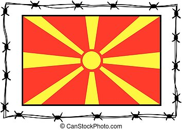 macedonia flag - metaphor - macedonia flad surrounded by...
