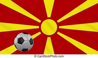 Macedonia flag waving and football rotates, loop - Republic...