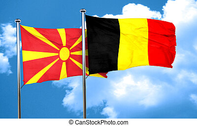 Macedonia flag with Belgium flag, 3D rendering