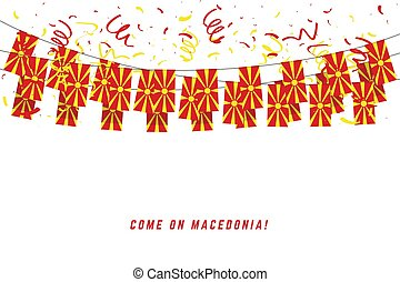 Macedonia flag with confetti on white background, Hang bunting for Macedonia celebration template banner.