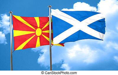 Macedonia flag with Scotland flag, 3D rendering
