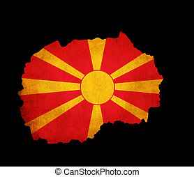 Macedonia grunge map outline with flag