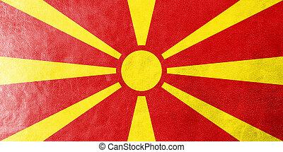 macedonia lobogó, festett, képben látható, megkorbácsol, struktúra
