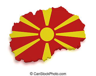 Macedonia Map 3d Shape - Shape 3d of Macedonia map with flag...