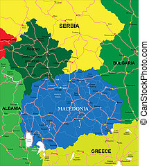 Macedonia map - Highly detailed vector map of Macedonia with...