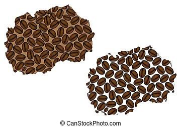 Macedonia map - Macedonia - map of coffee bean, Republic of...