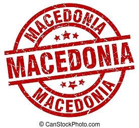 Macedonia red round grunge stamp