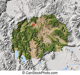 Macedonia, shaded relief map - Macedonia, Republic. Shaded...