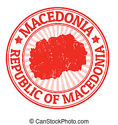 Grunge rubber stamp with the name and map of Macedonia, vector illustration