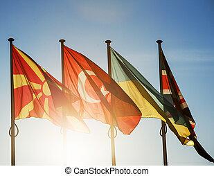 Macedonia, Turkey, Ukraine and United Kingdom flags