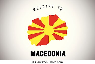 Macedonia Welcome to Text and Country flag inside Country border Map Vector Design.