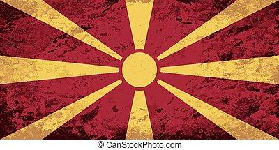 Macedonian flag. Grunge background.