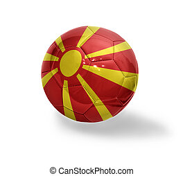 Football ball with the national flag of Macedonia on a white background