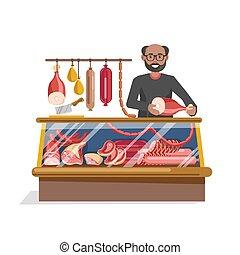 macellai, negozio, carne, seller., fresco, amichevole