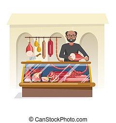 macellai, negozio, carne, venditore, fresco, amichevole