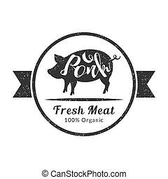 macello, premio, negozio, organico, qualità, carne, illustrazione, maiale, imballaggio, retro, vettore, fresco, pubblicità, bestiame, logotipo, sagoma, distintivo, o, carne