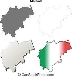 Macerata blank detailed outline map set - Macerata province...