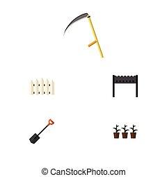 maceta, plano, conjunto, pala, elements., dacha, incluye, ...