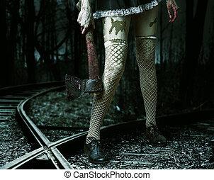 machado, mulher segura, mal, sangrento