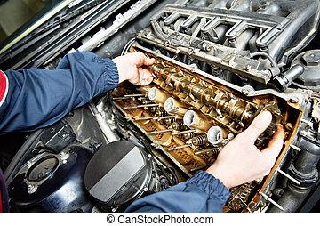 machanic, opravář, v, automobil, vagón stříkačka, odčinit