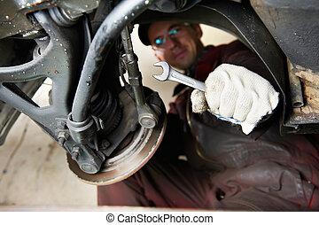 machanic repairman at car break change