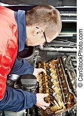 machanic, repairman, hos, bil, bil motor, reparera