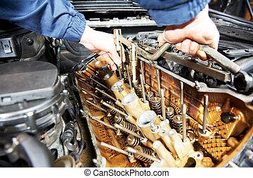 machanic, reparador, en, automóvil, motor coche, reparación