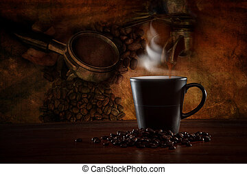 machen, ausrüstung, szene, bohnenkaffee