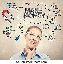 machen, geld, idee, skizze, mit, junger, unternehmerin