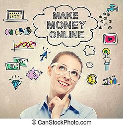 machen, geld, online, idee, skizze, mit, junger, unternehmerin