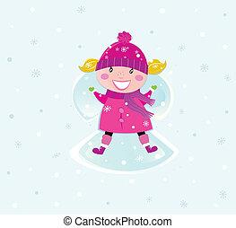 machen, m�dchen, schneeengel, weihnachten