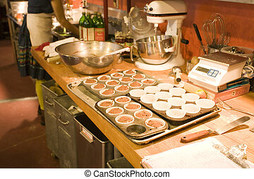 machen, muffins, in, der, organische , backstube
