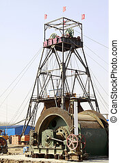 MACHENG - March 13: Drilling derrick in MaCheng iron mine on march 13, 2014, Luannan County, Hebei Province, China