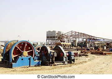 Winch in mining construction site