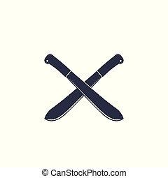 machete, crossed knives on white
